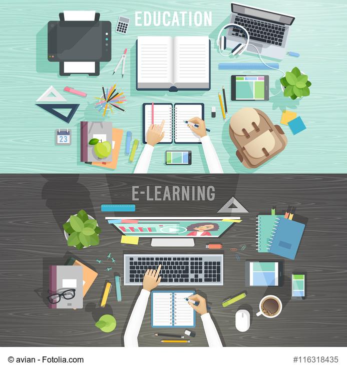 Vektorgrafik zum Thema Ausbildung und Online lernen