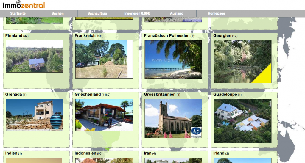 Screenshot eine Immobilienportal mit auf Auslandsimmobilien spezialisierten Angeboten
