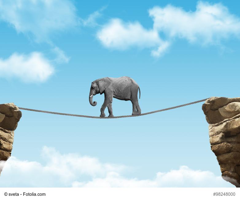Ein afrikanischer Elefant auf einem Seil in der Luft zwischen zwei Felsen