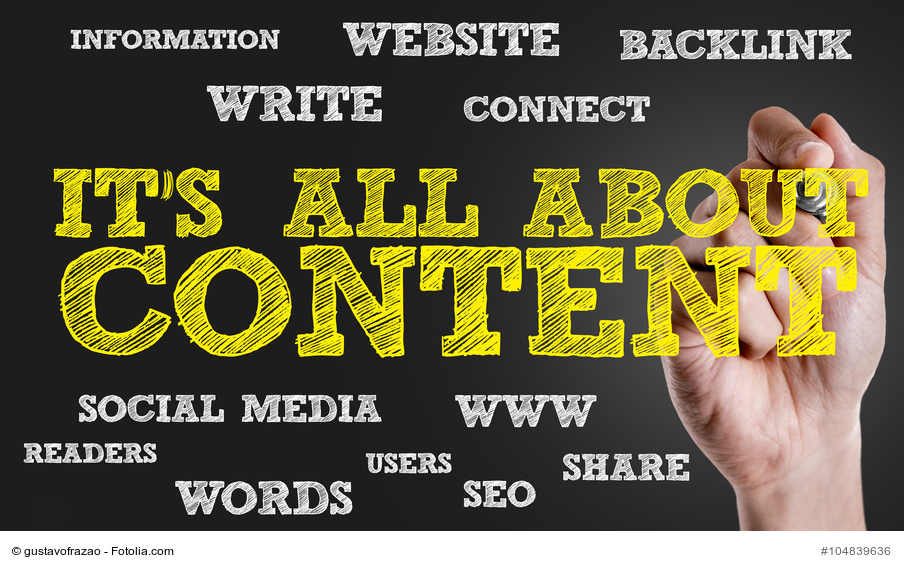 Handgeschriebener Text: It's all about Content